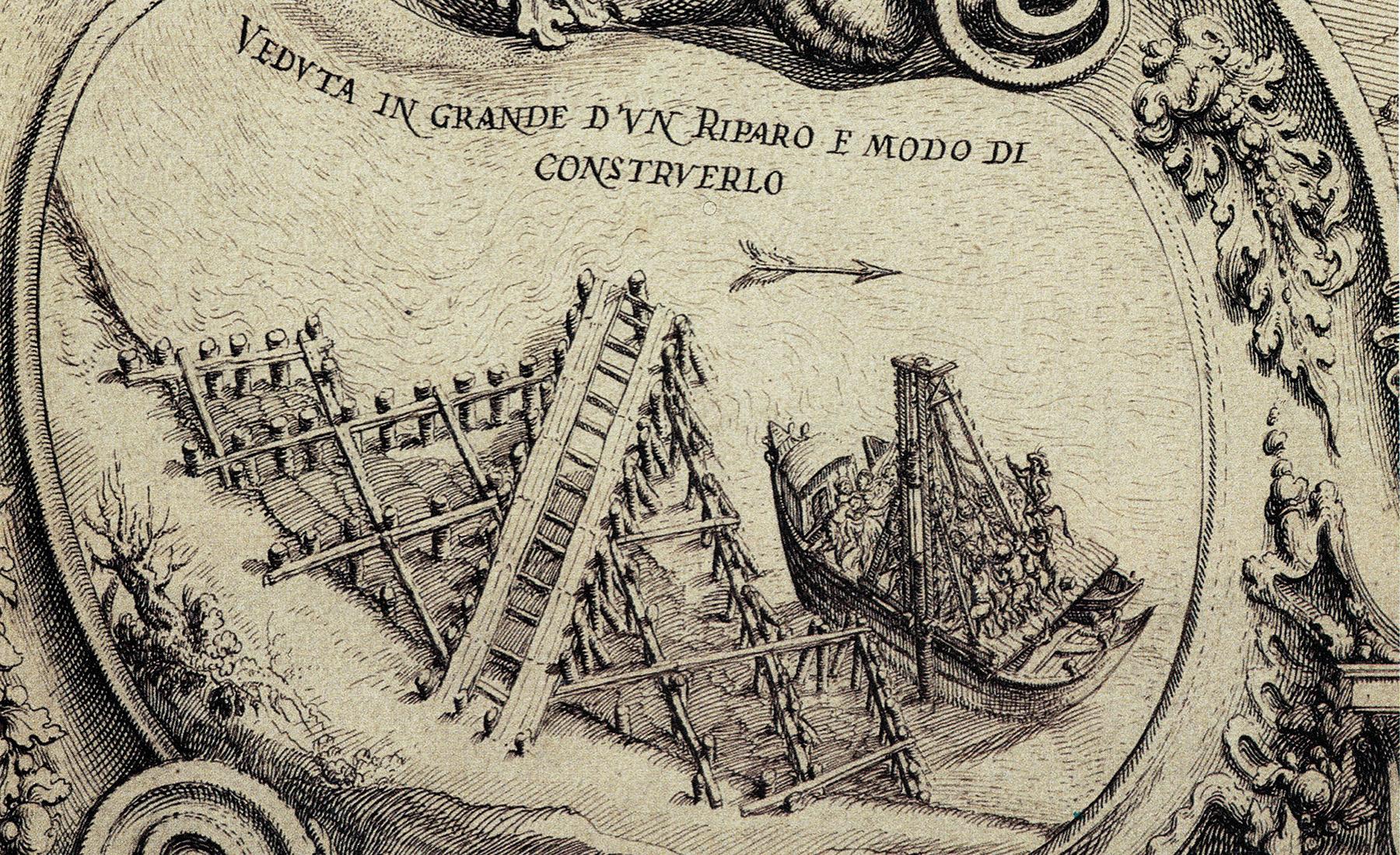 Teatro Sociale Gualtieri – Mappario Estense – Pianta topografica fiume Po – anno 1700 – particolare 2 – 1800×1100